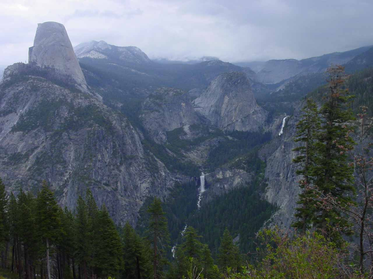 Unusual view of the Giant Stairway and Half Dome from the Panorama Trail