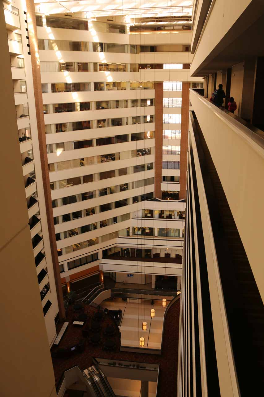 The scary dropoffs of the atrium within the Hyatt in downtown Indianapolis