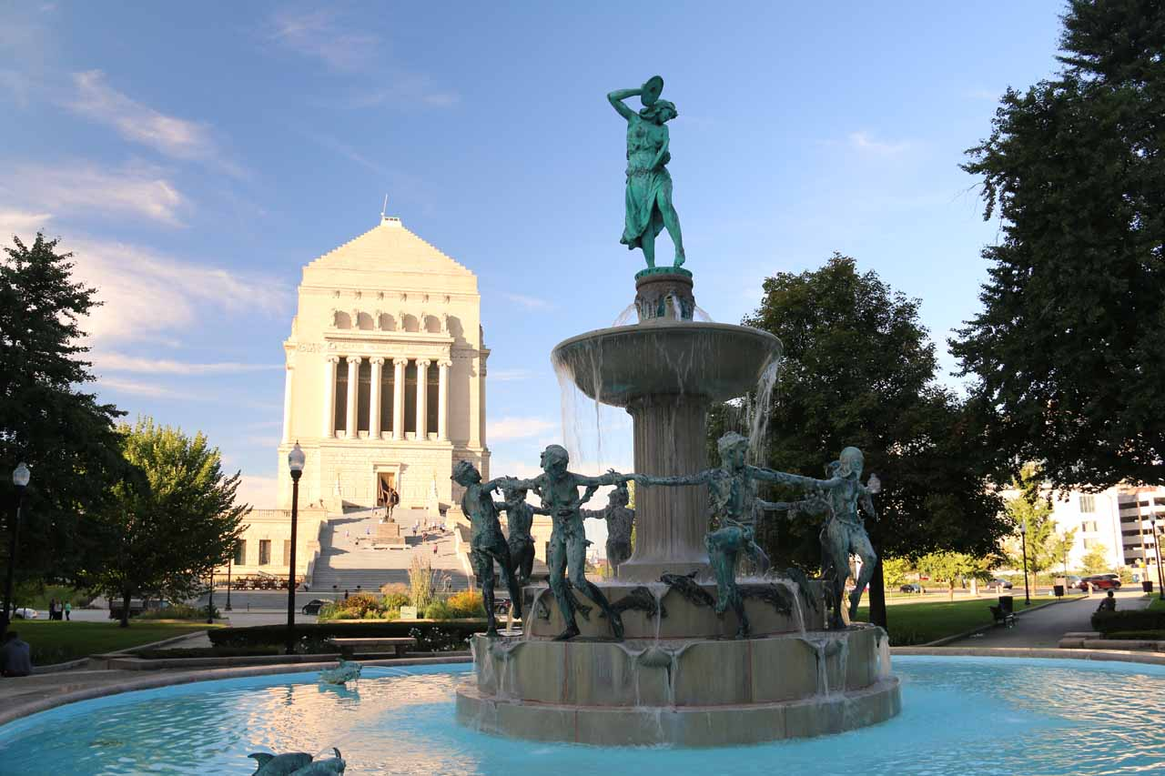 Approaching the war memorial in downtown Indianapolis