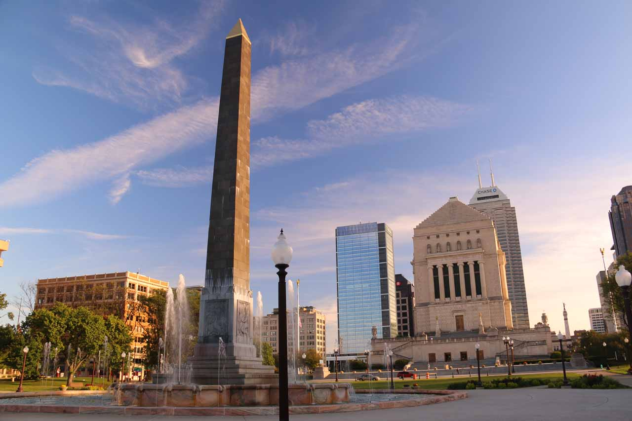 The obelisk and War Memorial in downtown Indianapolis