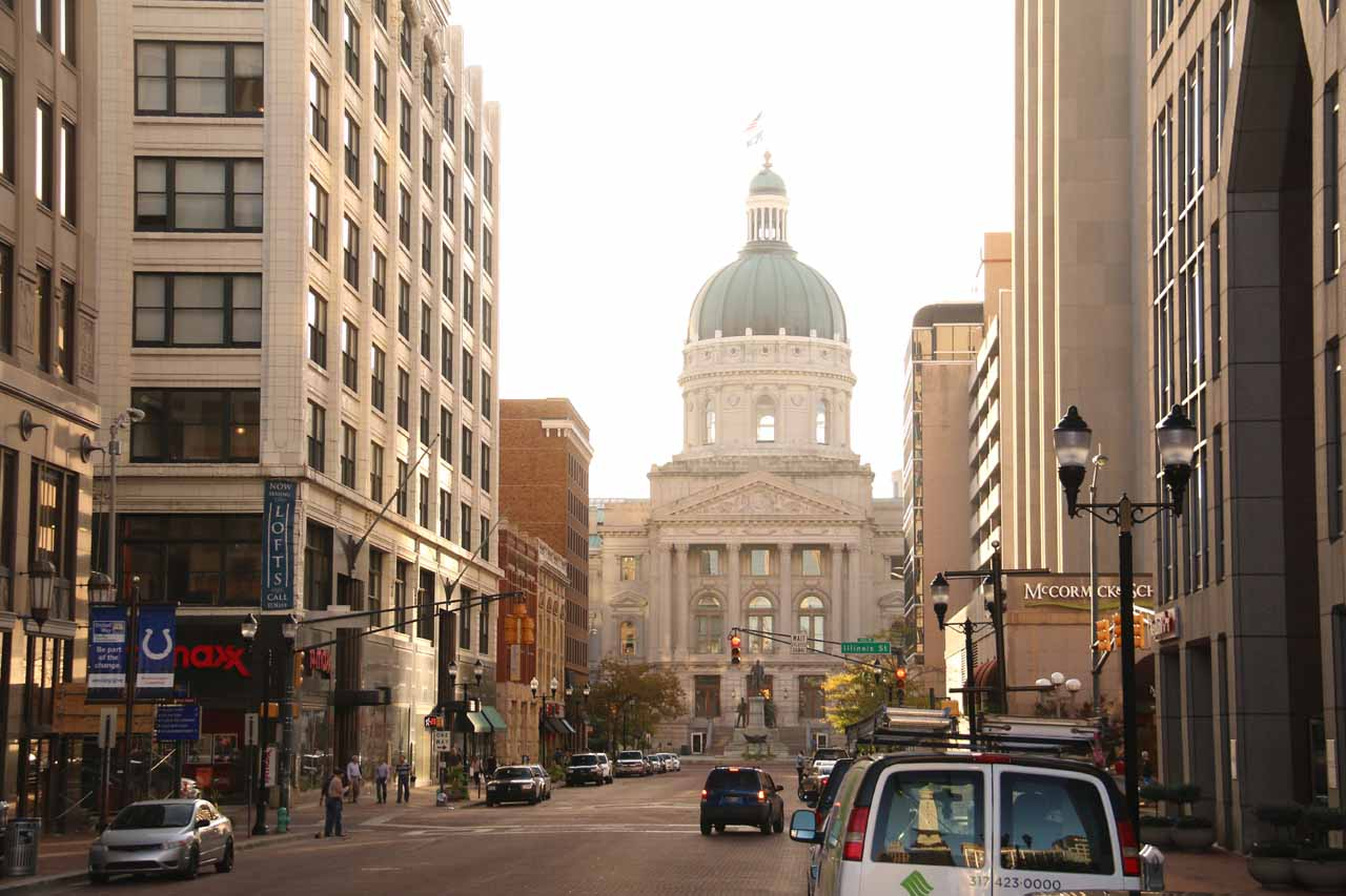 Indianapolis had an attractive downtown area that seemed to blend in some historical charm with the taller downtown buildings