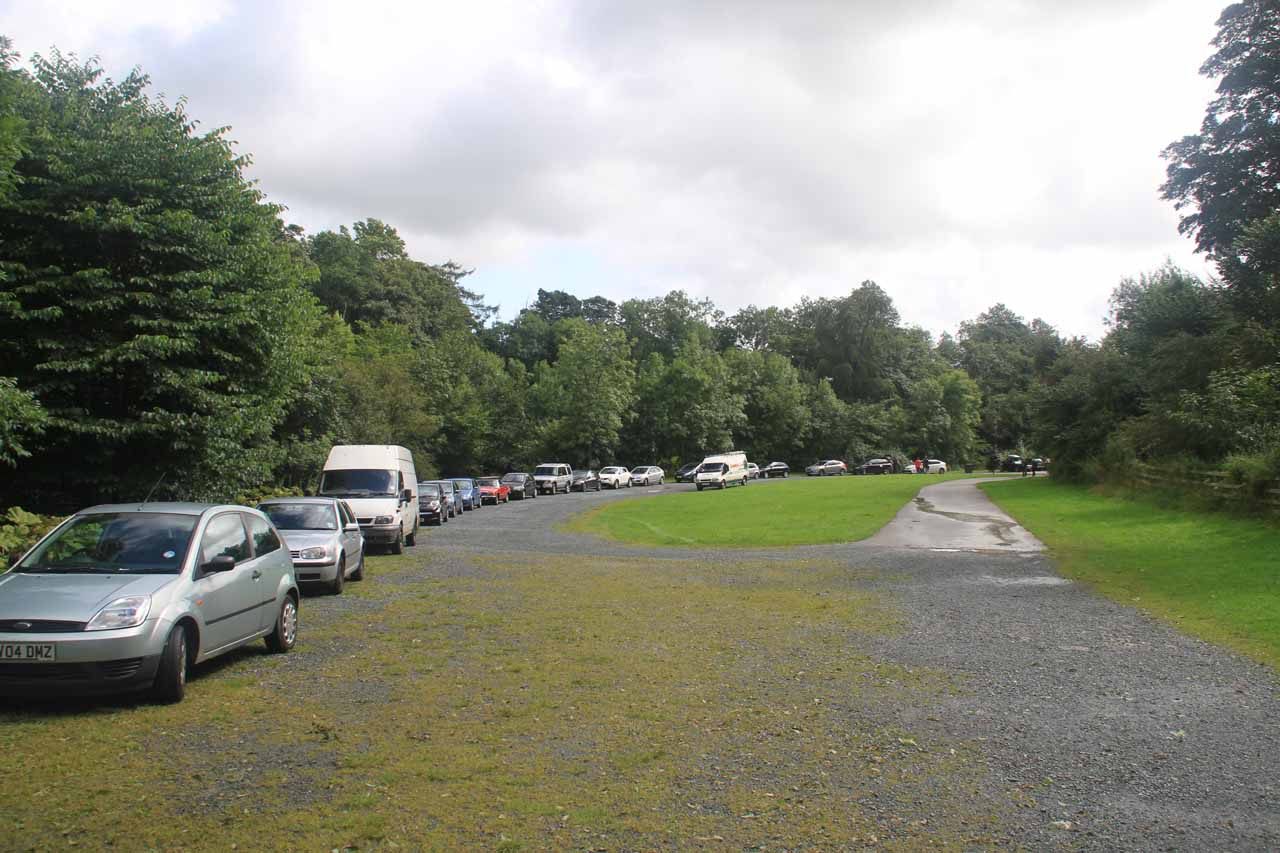 The northern end of the large car park for the Ingleton Waterfalls Trail
