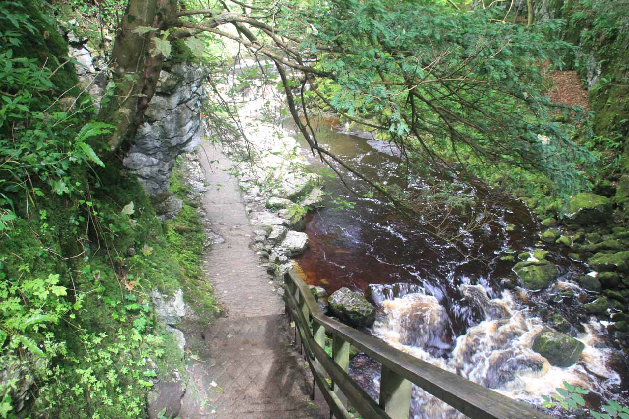 The trail followed the River Twiss that was in full spate