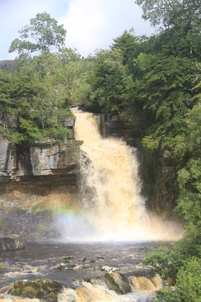 Closeup look at Thornton Force in full spate with a rainbow going across it