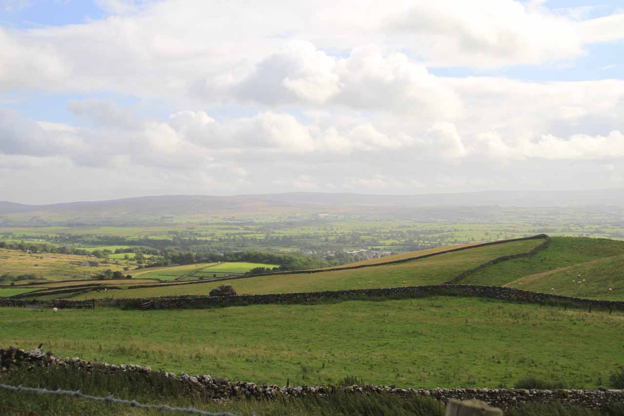 Looking over pastures then towards the dales from the highest point of the loop hike near the ice cream truck