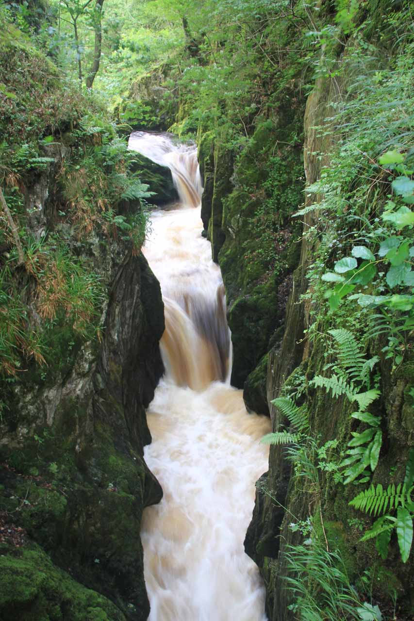 Looking down at some waterfalls of the Baxenghyll Gorge