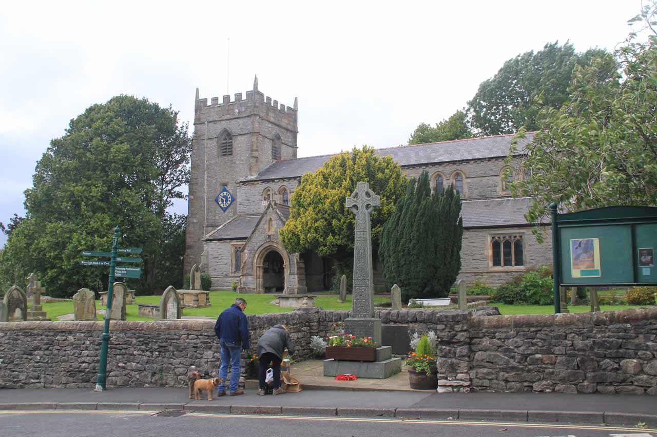 An attractive church right across the street from a grocery store in Ingleton