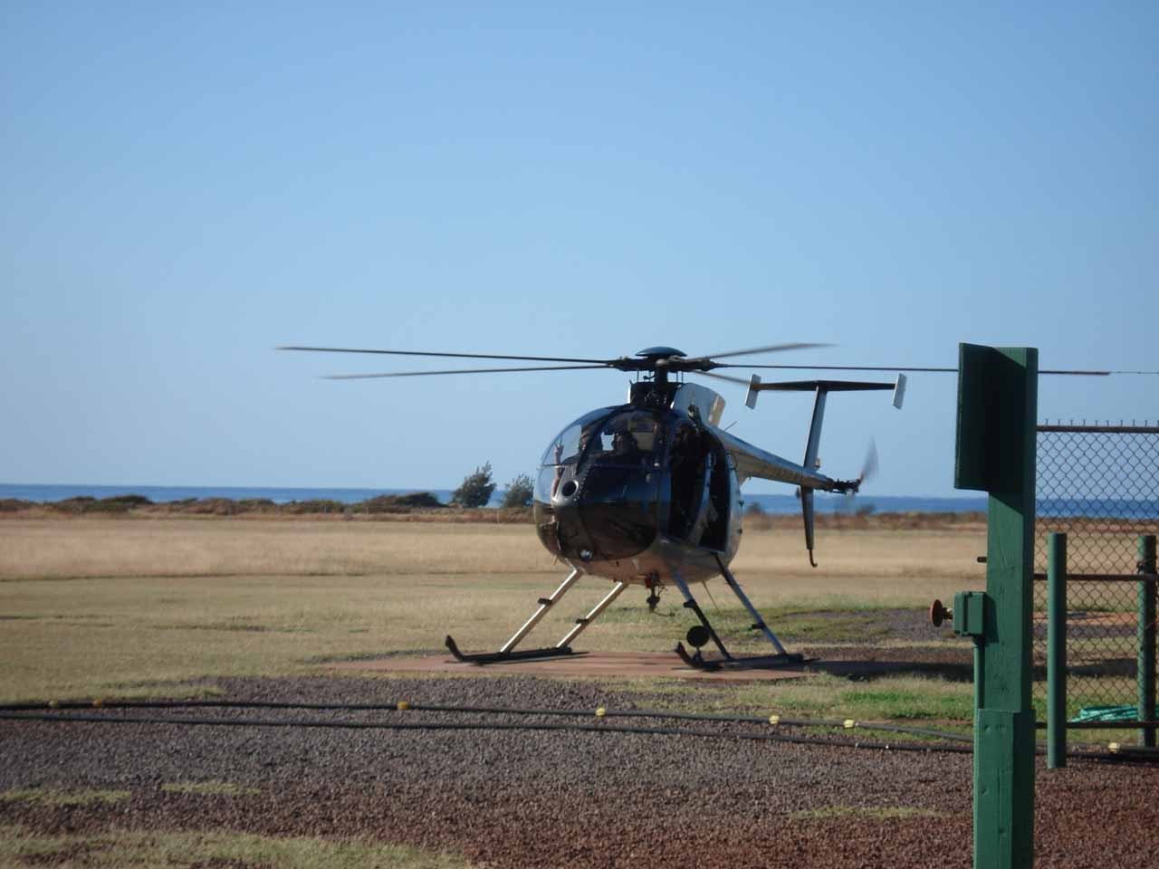 The chopper that we flew on