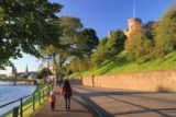 Inverness_020_08262014 - Julie and Tahia walking along the River Ness with Inverness Castle above