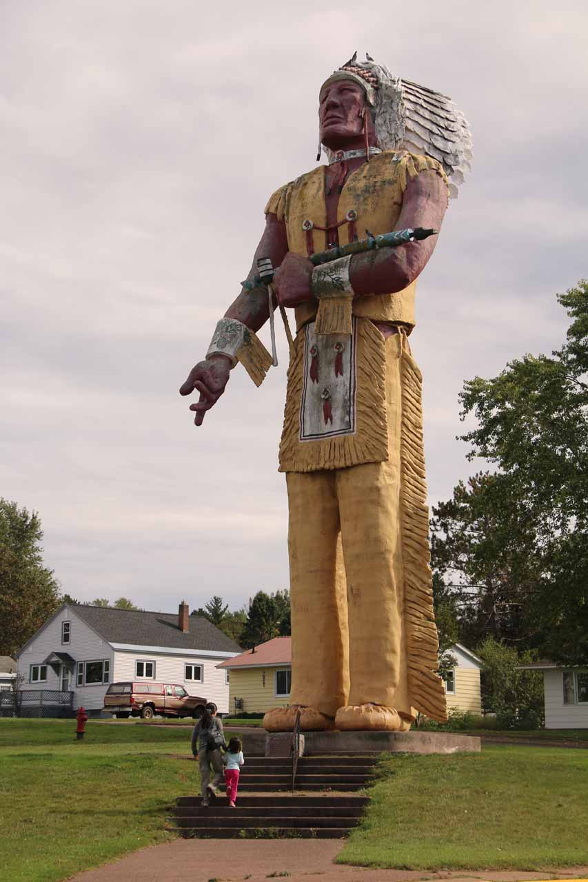 About 62 miles west of Paulding was the town of Ironwood, Michigan, which possessed this giant Hiawatha statue that was proclaimed to be 'the largest Indian statue in the world.'