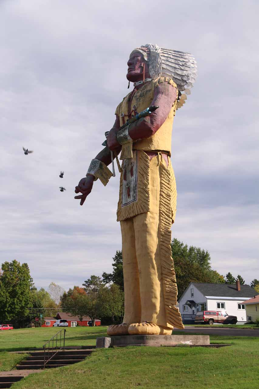 About 18 miles east of Superior Falls was the town of Ironwood, Michigan, which possessed this giant Hiawatha statue that was proclaimed to be 'the largest Indian statue in the world.'