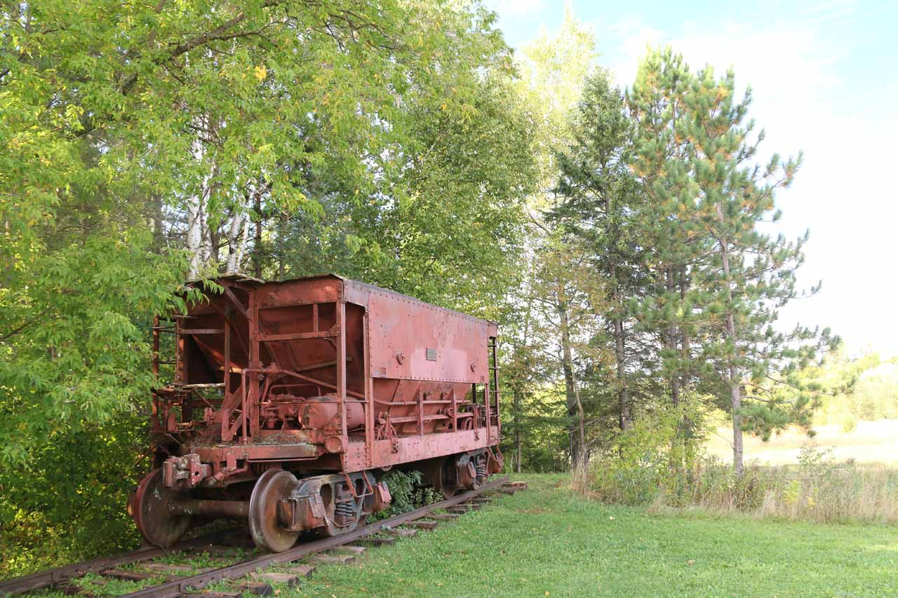 Some old mining railcar by the Hiawatha Statue in Ironwood, MI