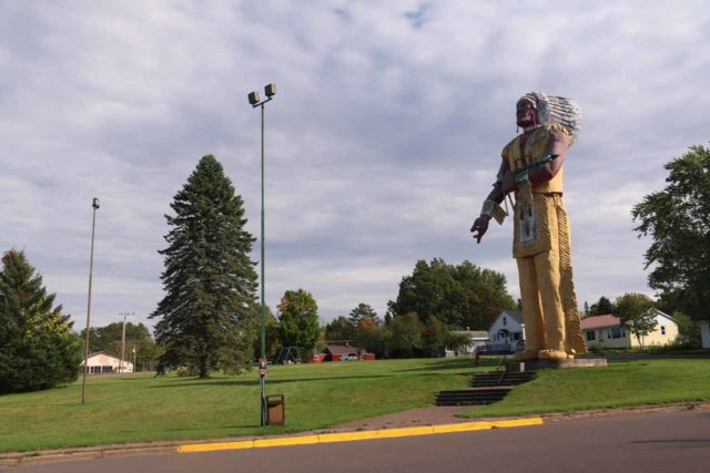 Ironwood_014_09282015 - About 32 miles east of Copper Falls was the town of Ironwood, Michigan, which possessed this giant Hiawatha statue that was proclaimed to be 'the largest Indian statue in the world.'
