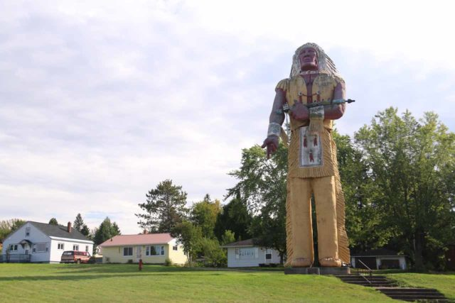 Ironwood_015_09282015 - About 22 miles east of Potato River Falls was the town of Ironwood, Michigan, which possessed this giant Hiawatha statue that was proclaimed to be 'the largest Indian statue in the world.'