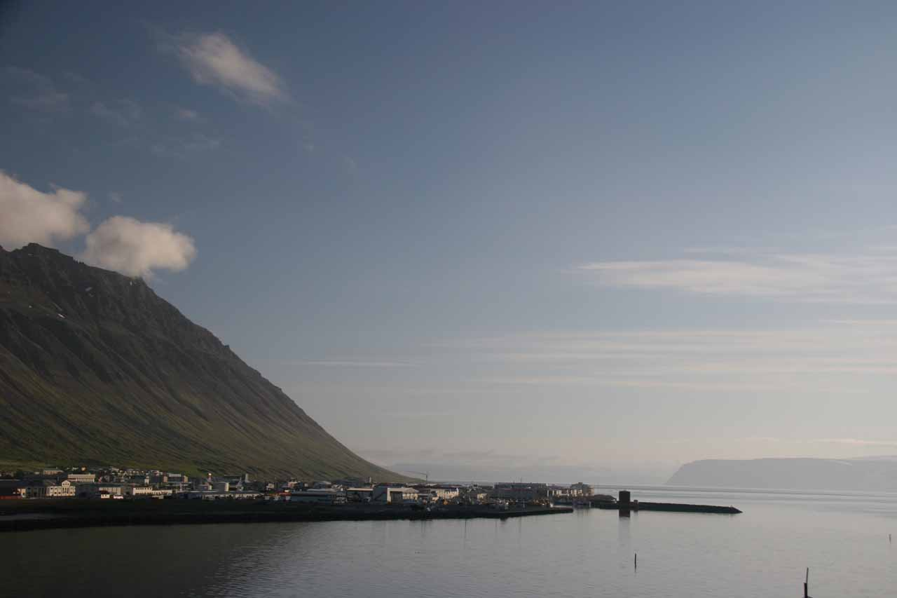 Eventually at the end of the day (after visiting the Waterfall at Foss), we settled into the hauntingly beautiful town of Isafjordur