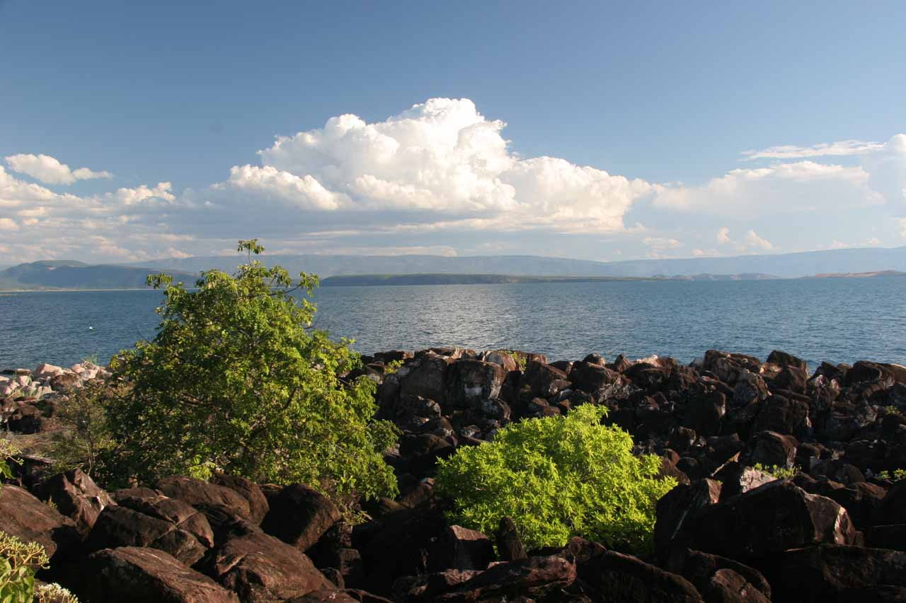 Looking over Lake Tanganyika to the south from the short trail to the sunset viewing spot we picked