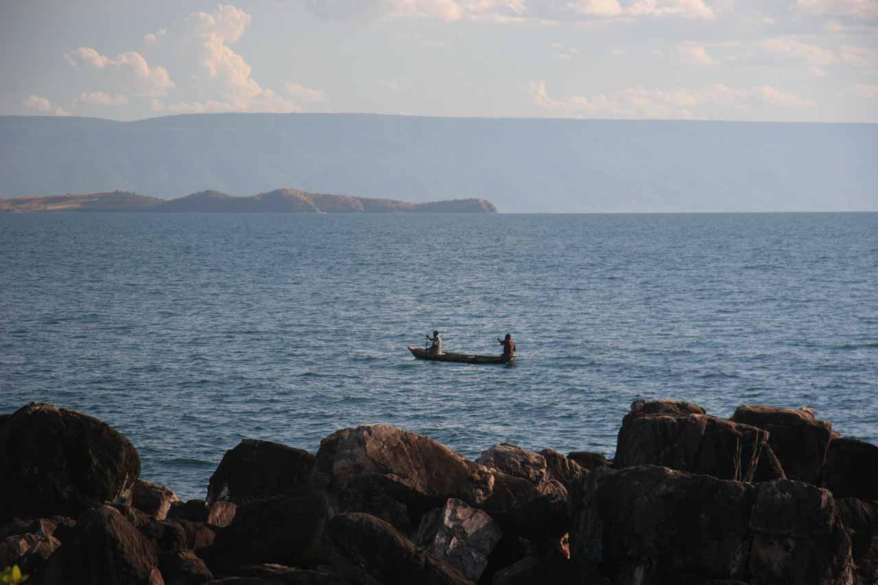 Fishers overfishing with mosquito nets on Lake Tanganyika