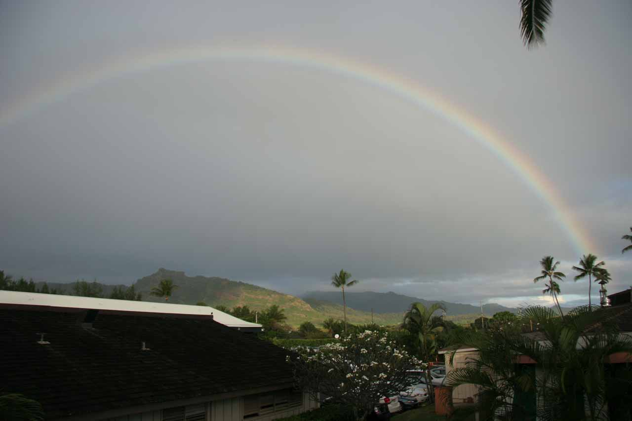 Secret Falls was on the Wailua River, whose mouth was close to the towns of Kapa'a and Wailua, where we stayed a couple of nights and even got this view of a full rainbow