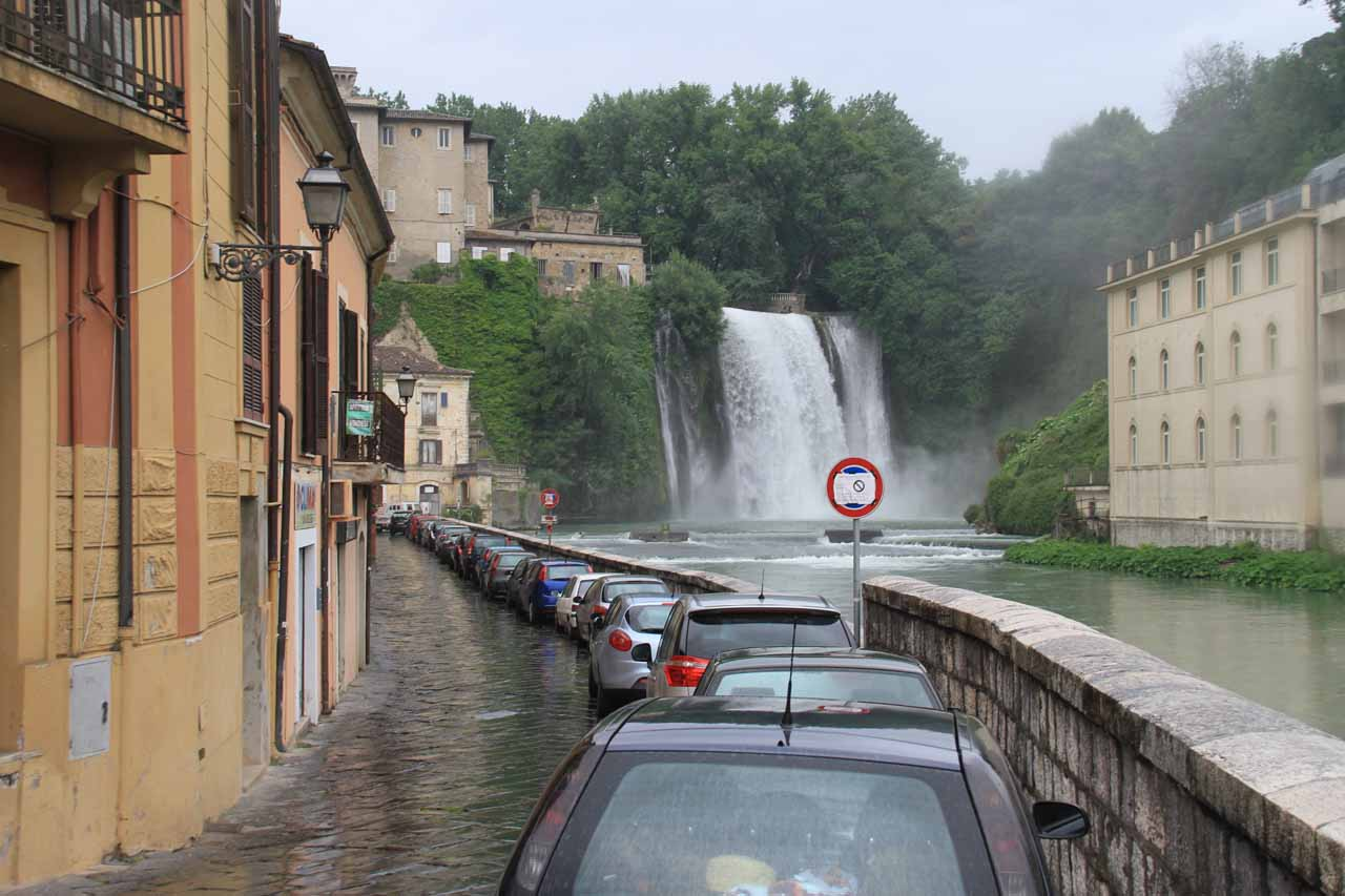 The narrow street adjacent to the branch of the Liri River containing Cascata Grande. I believe that sign with the camera means there are hidden cameras to catch unauthorized vehicles going into a ZTL