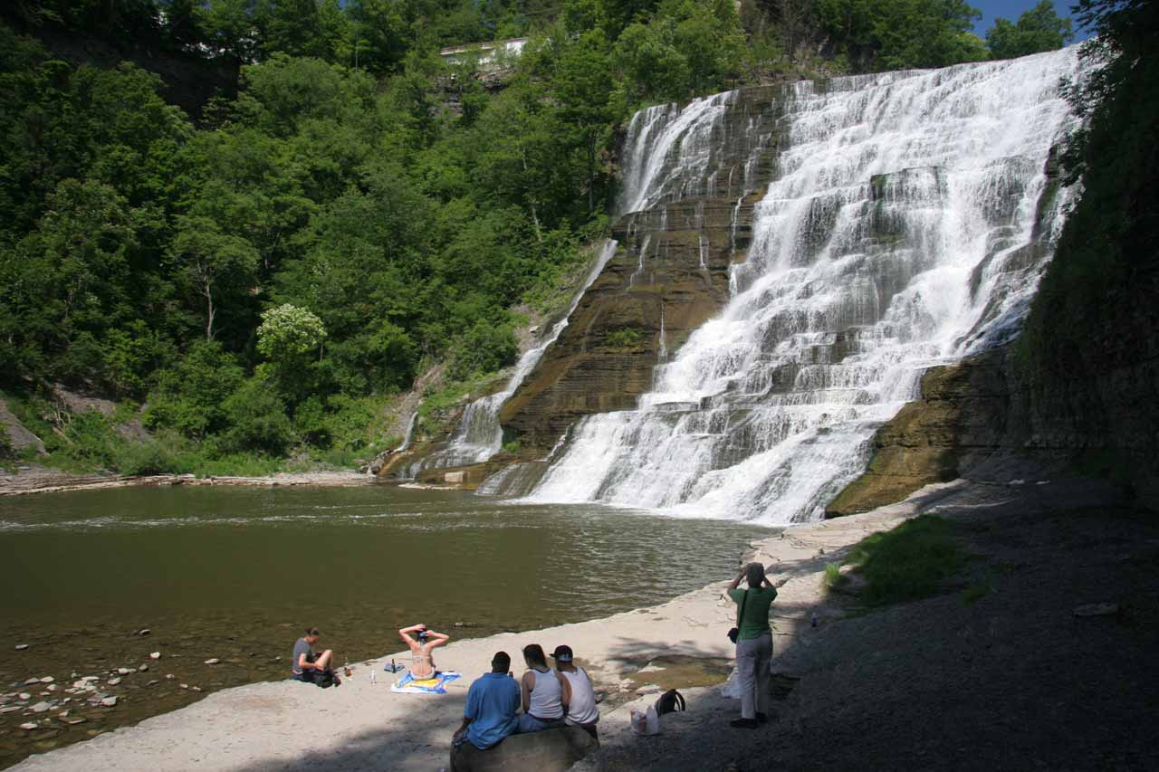 Ithaca Falls with some folks seeking relief from the summer heat