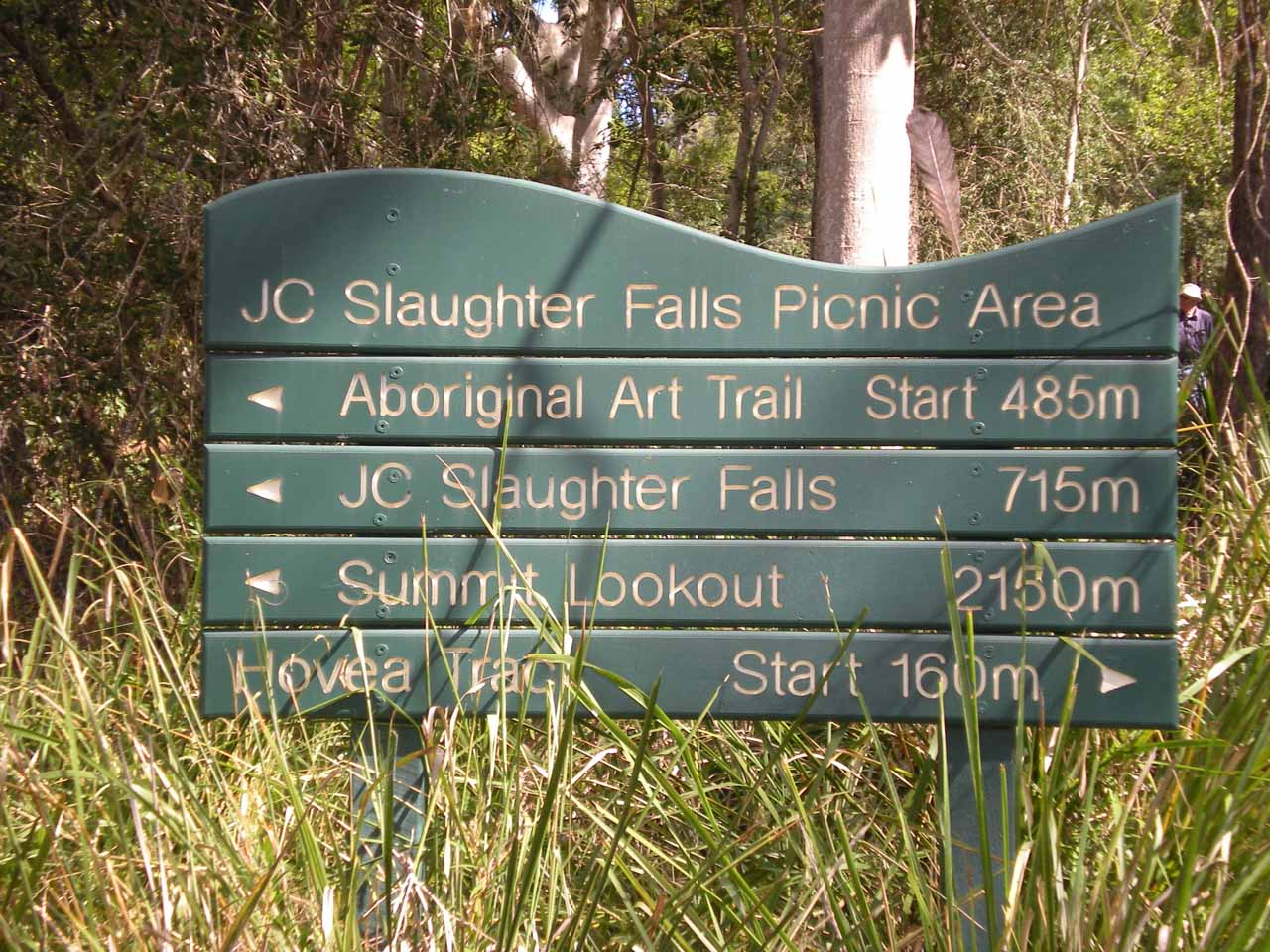 The sign at the JC Slaughter Falls Picnic Area at the start of our walk