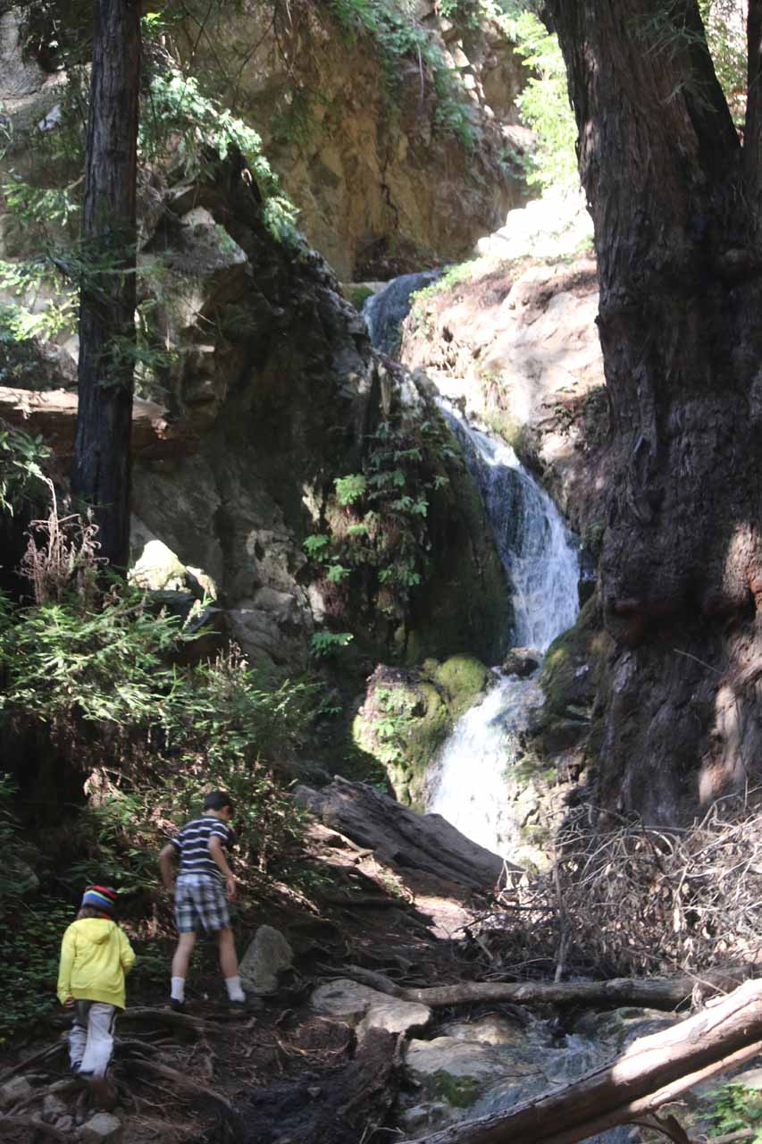 A couple of kids approaching the base of Canyon Falls