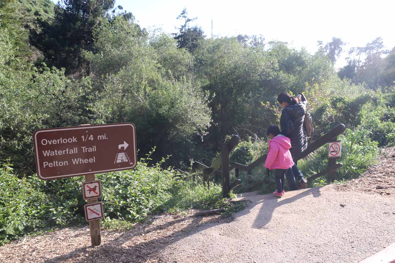 Julie and Tahia embarking on the short trail leading down to both the Pelton Wheel and McWay Falls