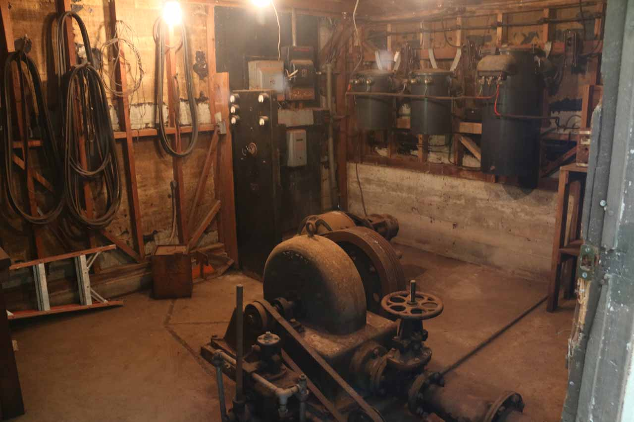 This was a look inside one of the two rooms of the small hydroelectric facility of the Pelton Wheel, which looked like it had equipment suitable for continued use