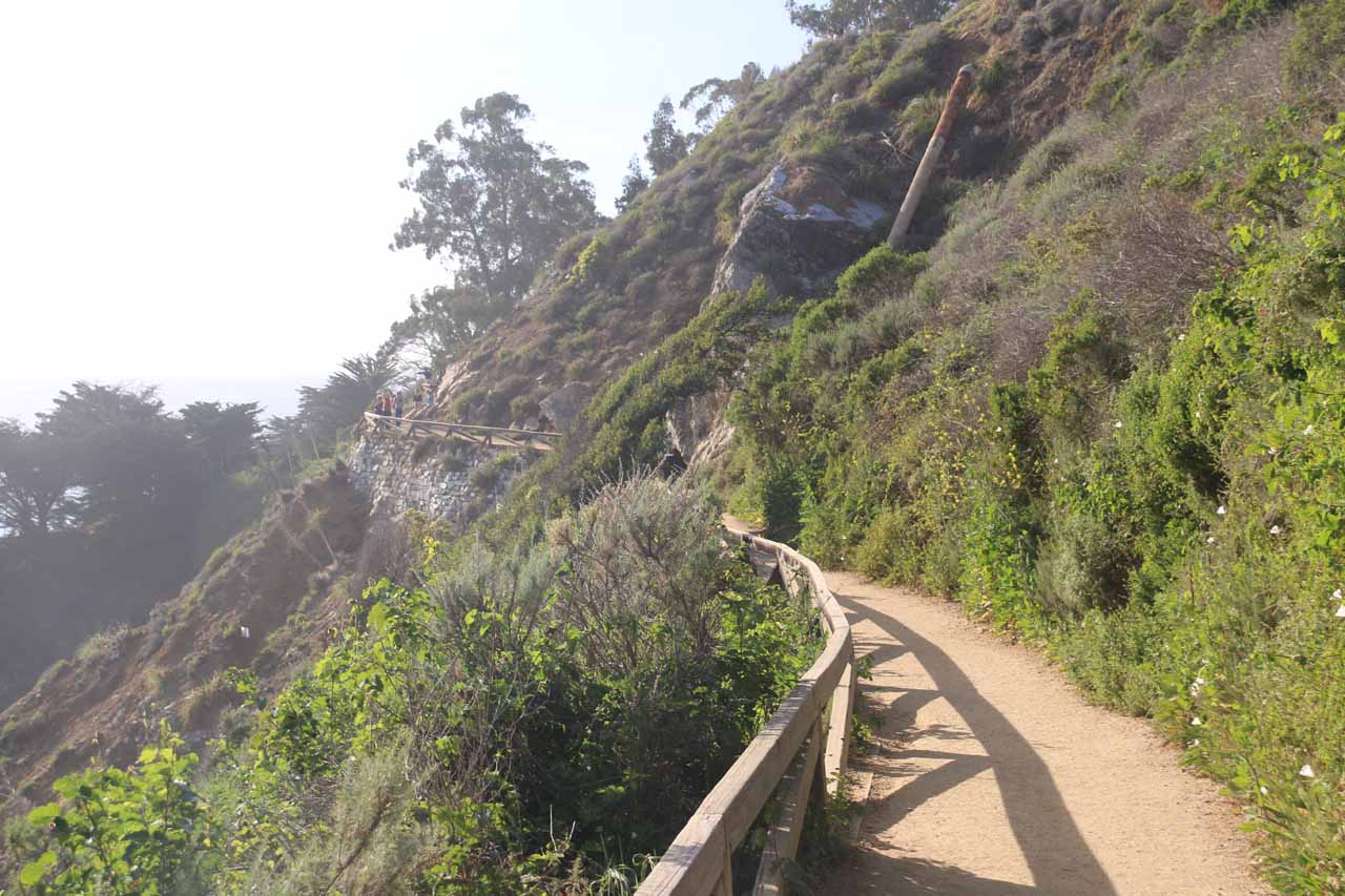 The cliff-hugging trail leading to better views of McWay Falls, the Waterfall Cove, and the Waterfall House ruins