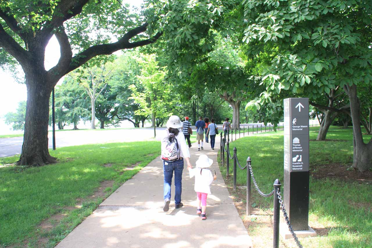 Julie and Tahia walking towards the Jefferson Memorial along with others in front of us