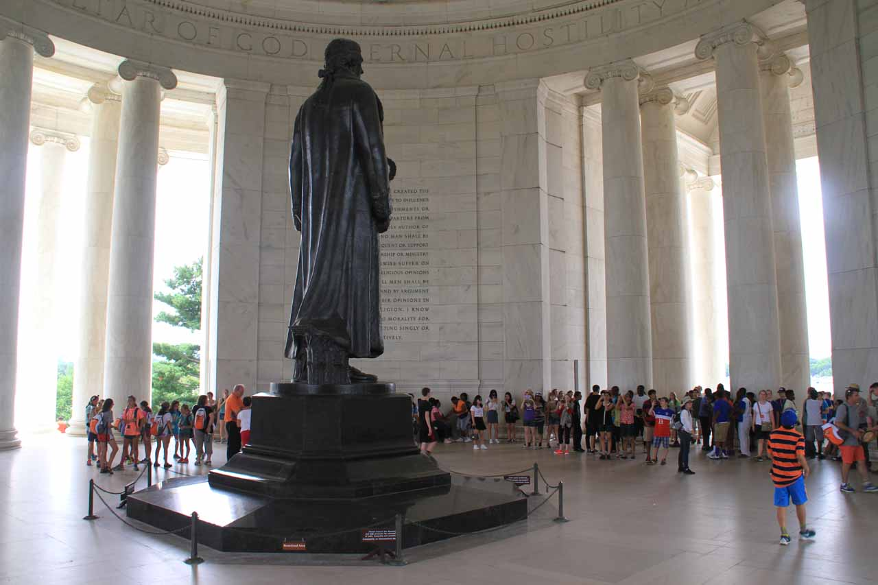 Looking back across the Jefferson Memorial towards the crowd admiring the Thomas Jefferson statue