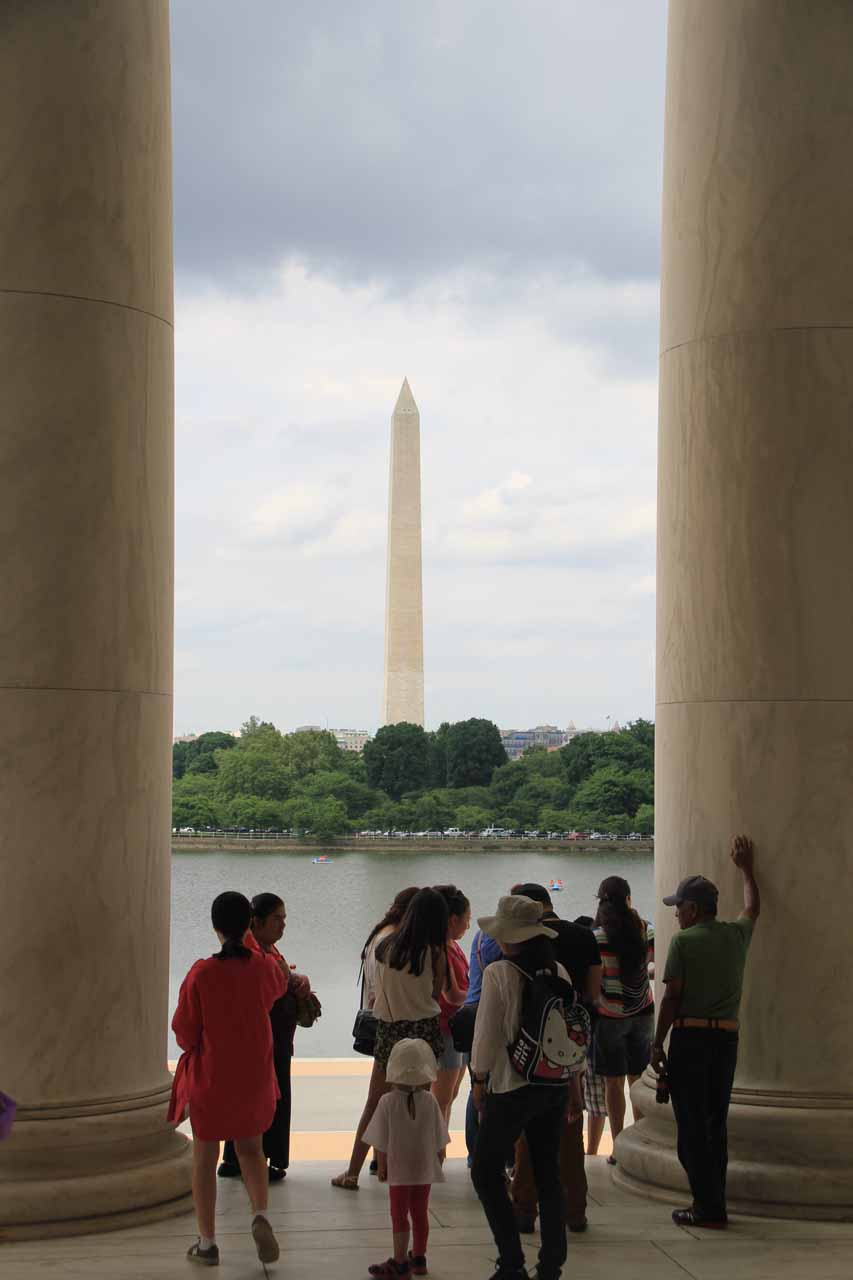 Julie and Tahia making their way out of the Jefferson Memorial with the Washington Monument in the distance