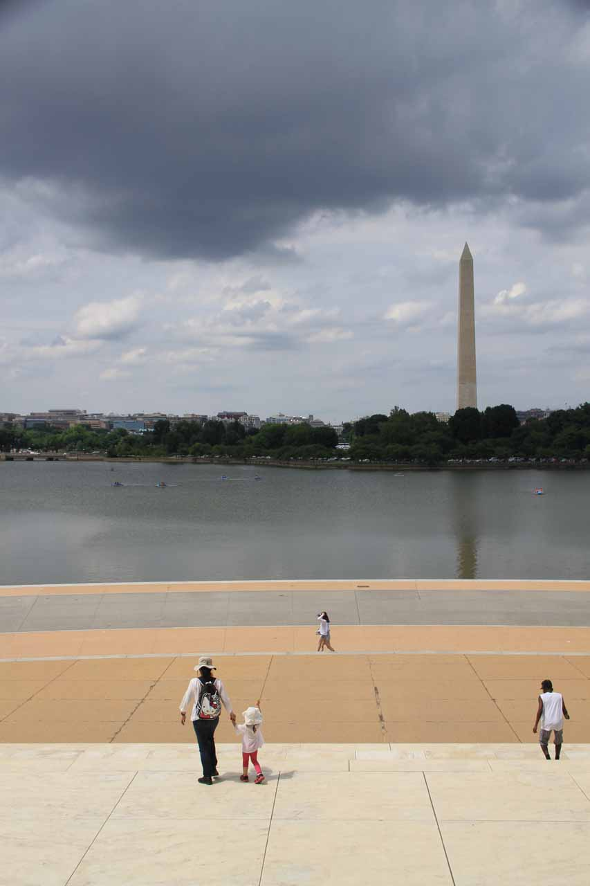 Julie and Tahia descending the steps of the Jefferson Memorial as we made our way back to the car park