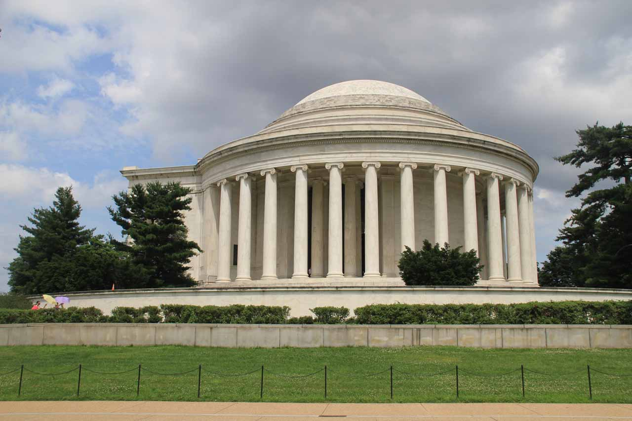 Looking back at the Jefferson Memorial's side