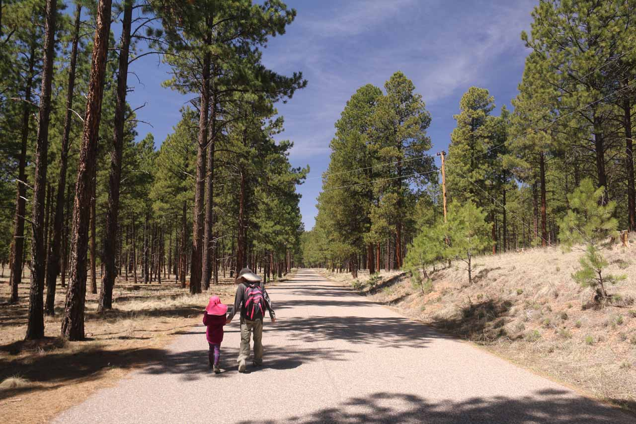 Julie and Tahia walking the closed road to the Jemez Campground and Falls