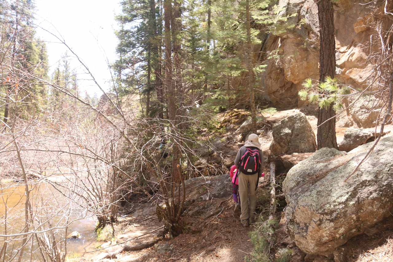 Beyond the trail labyrinth, the trail degenerated into a rock scramble alongside the East Fork Jemez River