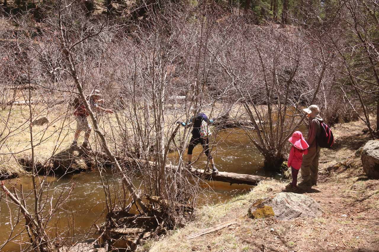 Some people resorted to crossing the East Fork Jemez River over some pretty flimsy makeshift log bridges
