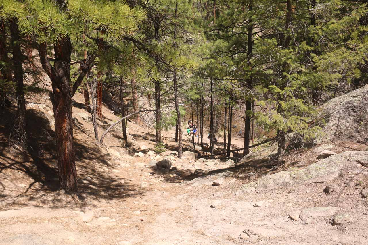 This was the moderately steep descent leading to the base of the Upper Jemez Falls