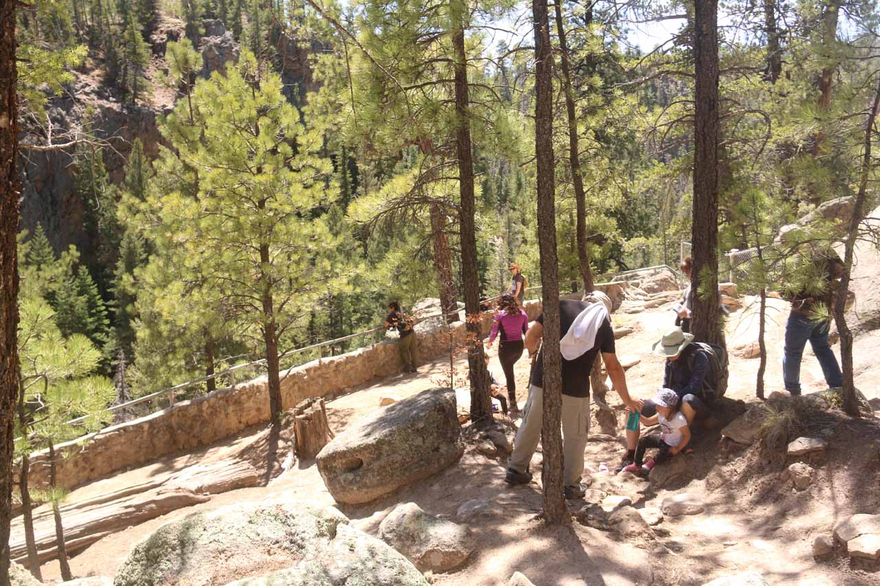 While continuing on the main trail, I finally found the official overlook of Jemez Falls. As you can see by the quantity of people here, quite a few of them didn't make the same mistake we had made earlier