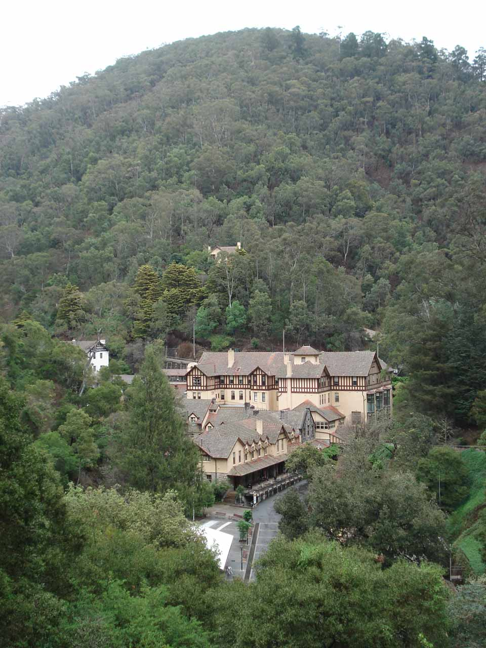 Looking down at the visitor center for the Jenolan Caves