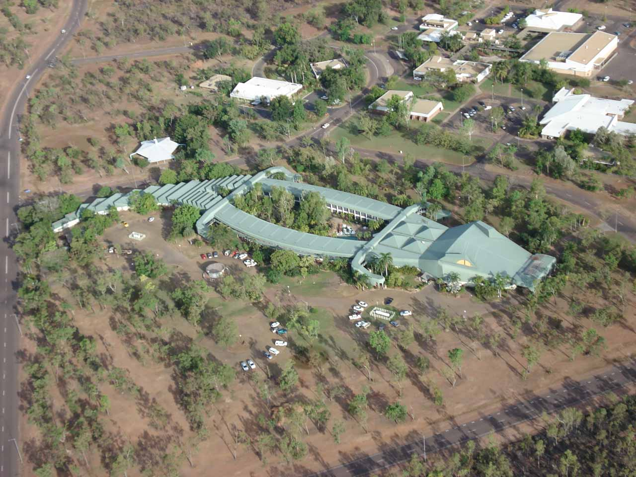 Our helicopter tour of Jim Jim Falls took off from Jabiru, where we got this area view of this crocodile-shaped hotel