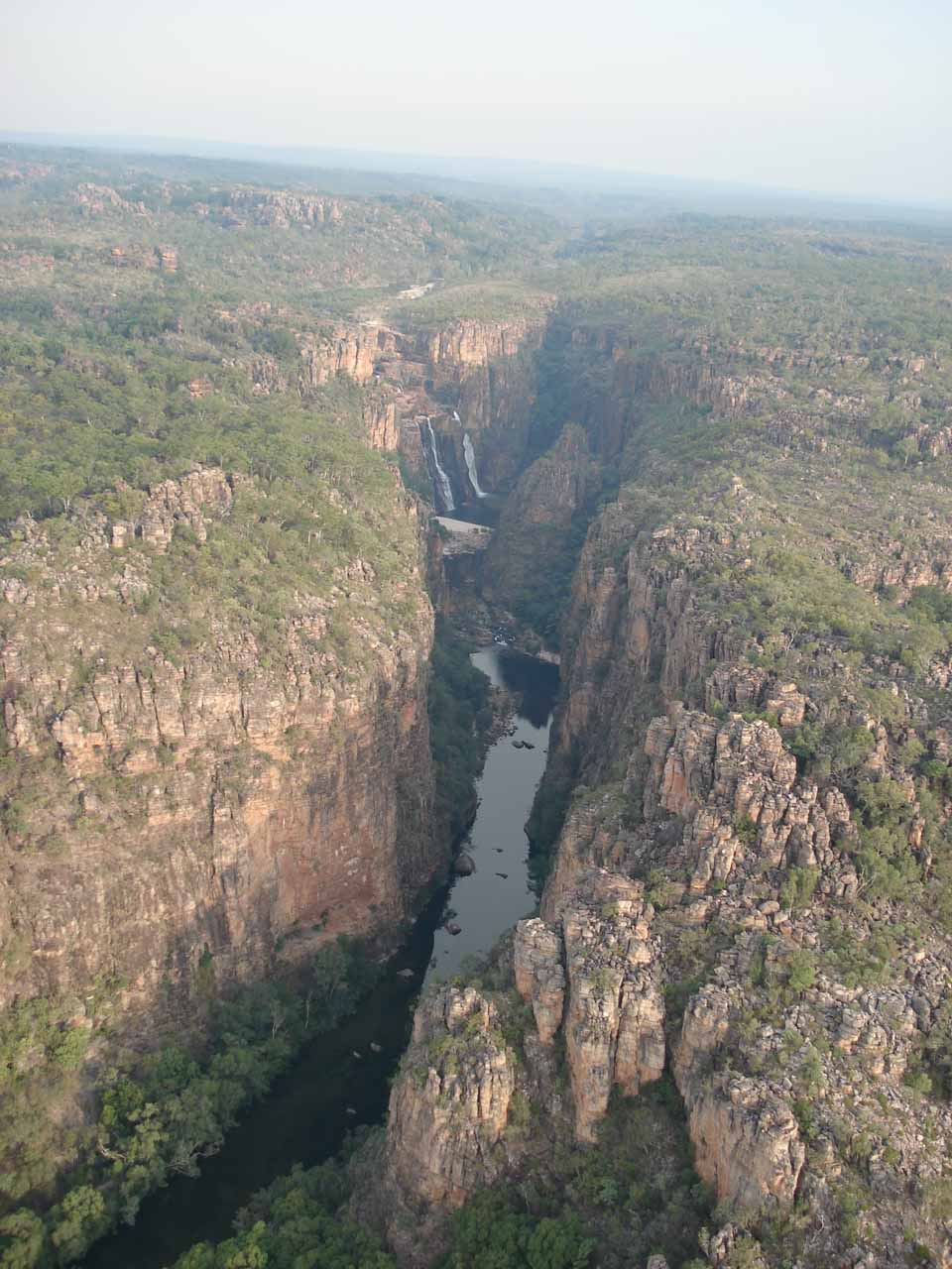 Looking down at the narrow gorge containing Twin Falls