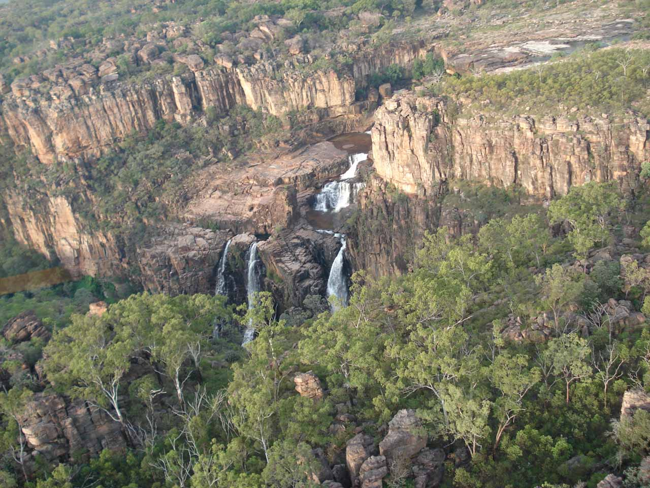 Our last look at Twin Falls as we were flying away; showing its full context with the surrounding escarpments and bushlands
