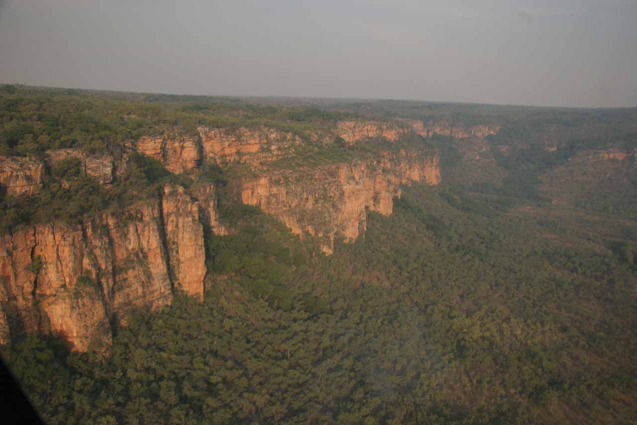Flying close to the escarpments