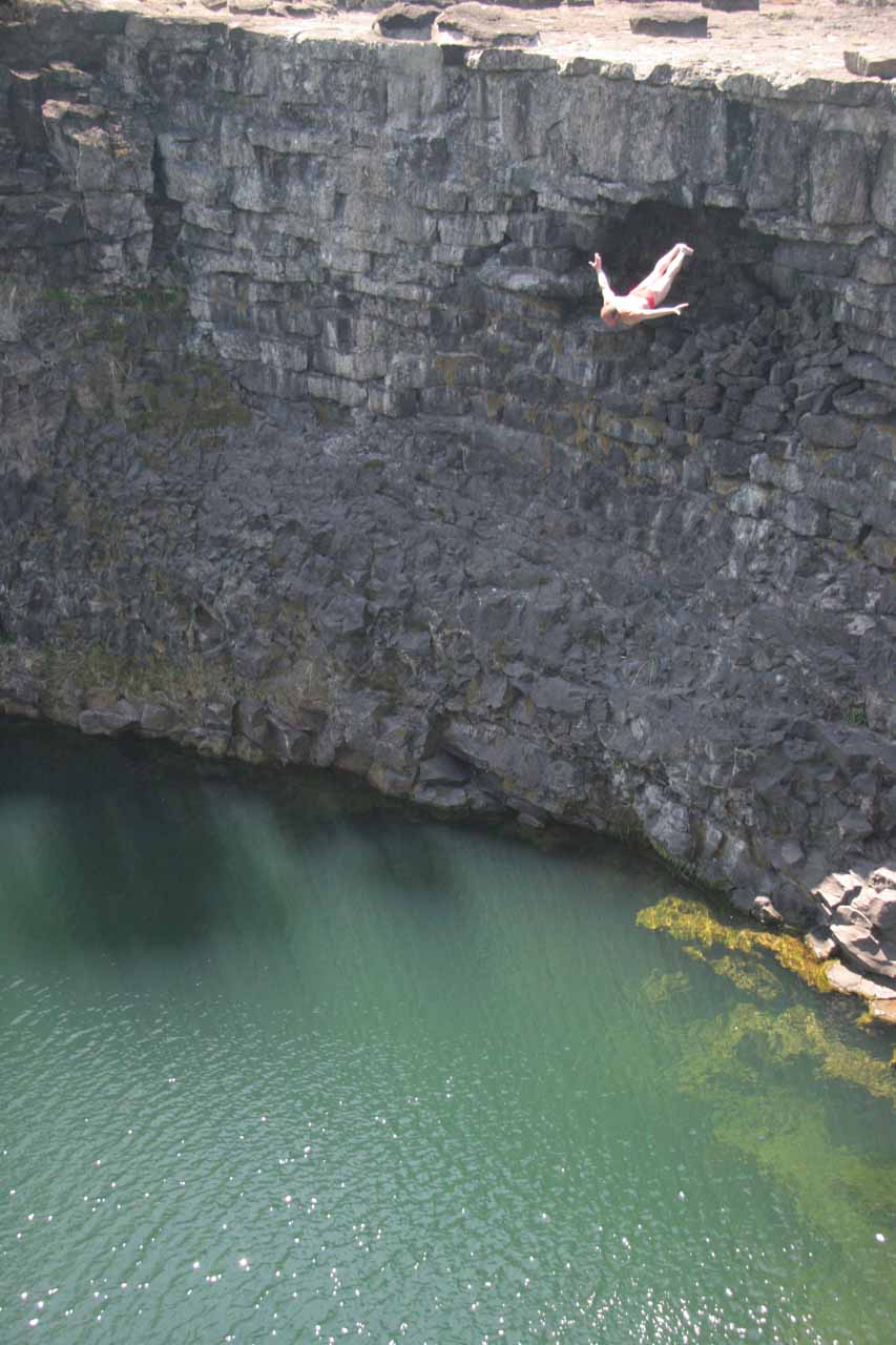 The local guy doing his cliff dive
