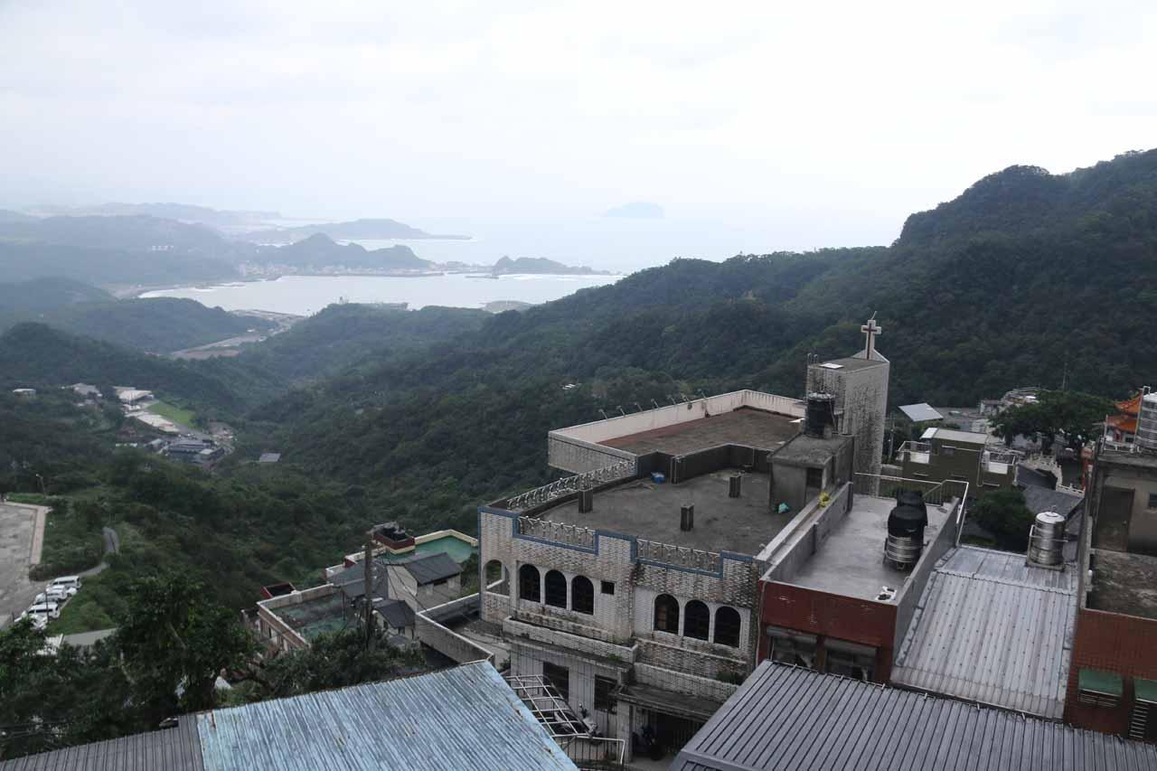 Shifen Waterfall was also near Jiufen Laojie (九份老街 [Jiǔfèn Lǎojiē]; Jiufen Old Street), where we got these views towards Keelung while approaching the atmospheric spot