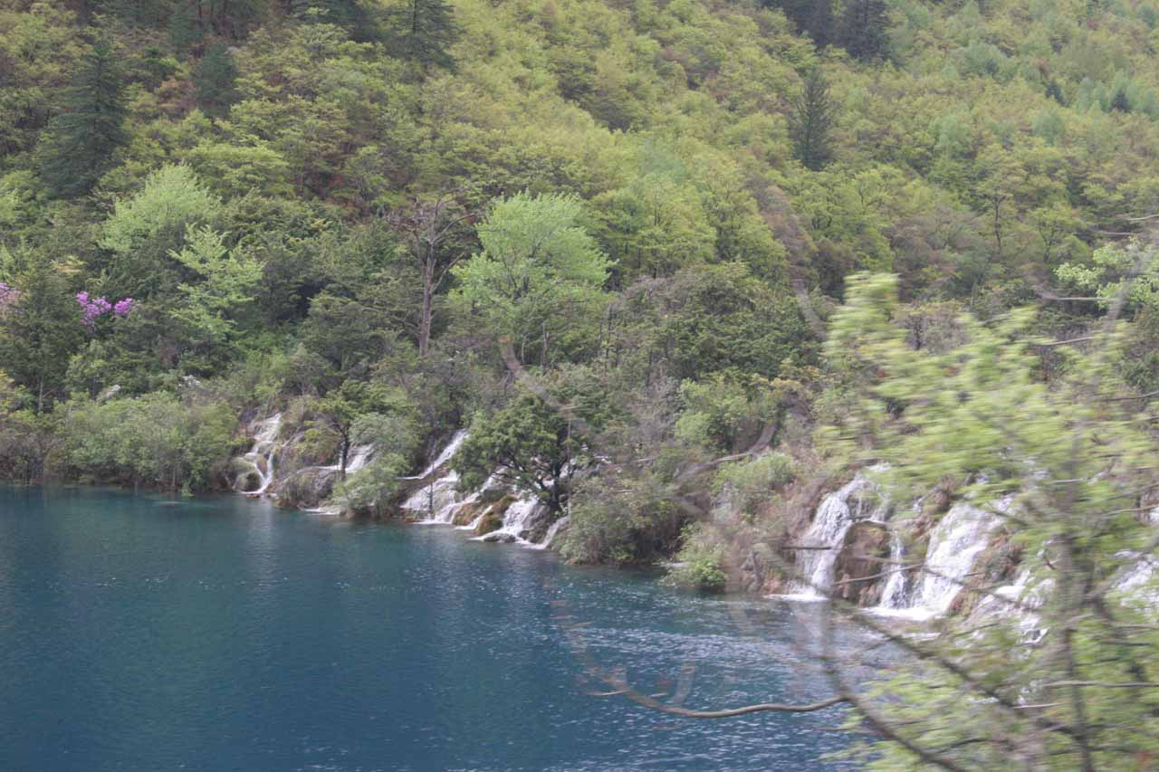 This was the first waterfall we saw in the Jiuzhaigou Nature Reserve from the crowded bus as we went past the Visitor Center and were headed towards the Arrow Bamboo Lake