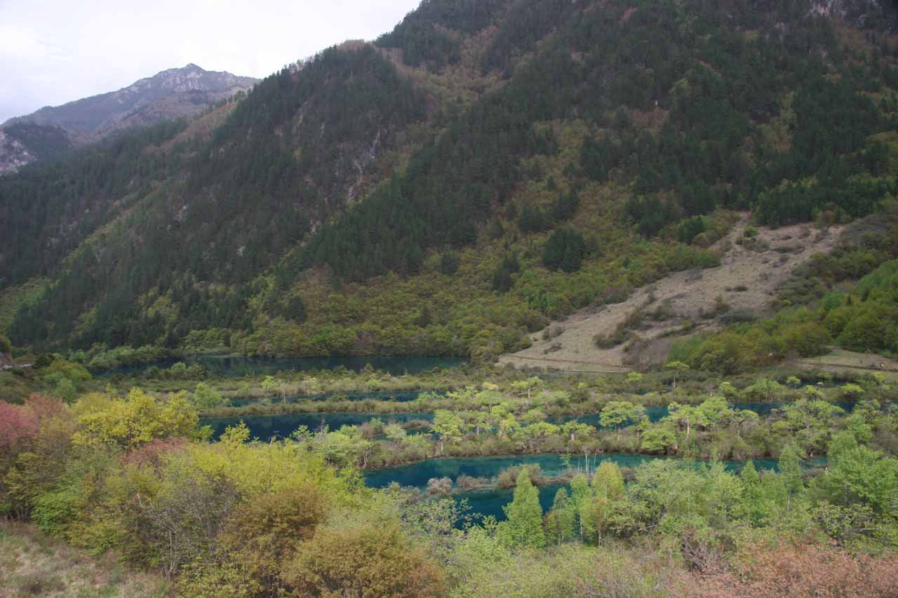 The colorful Shuzheng Lakes just downstream of the Shuzheng Waterfall