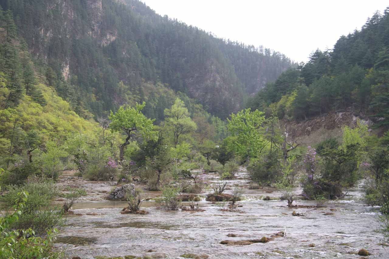 Looking back upstream towards some minor cascades and rapids from the base of the Shuzheng Lakes