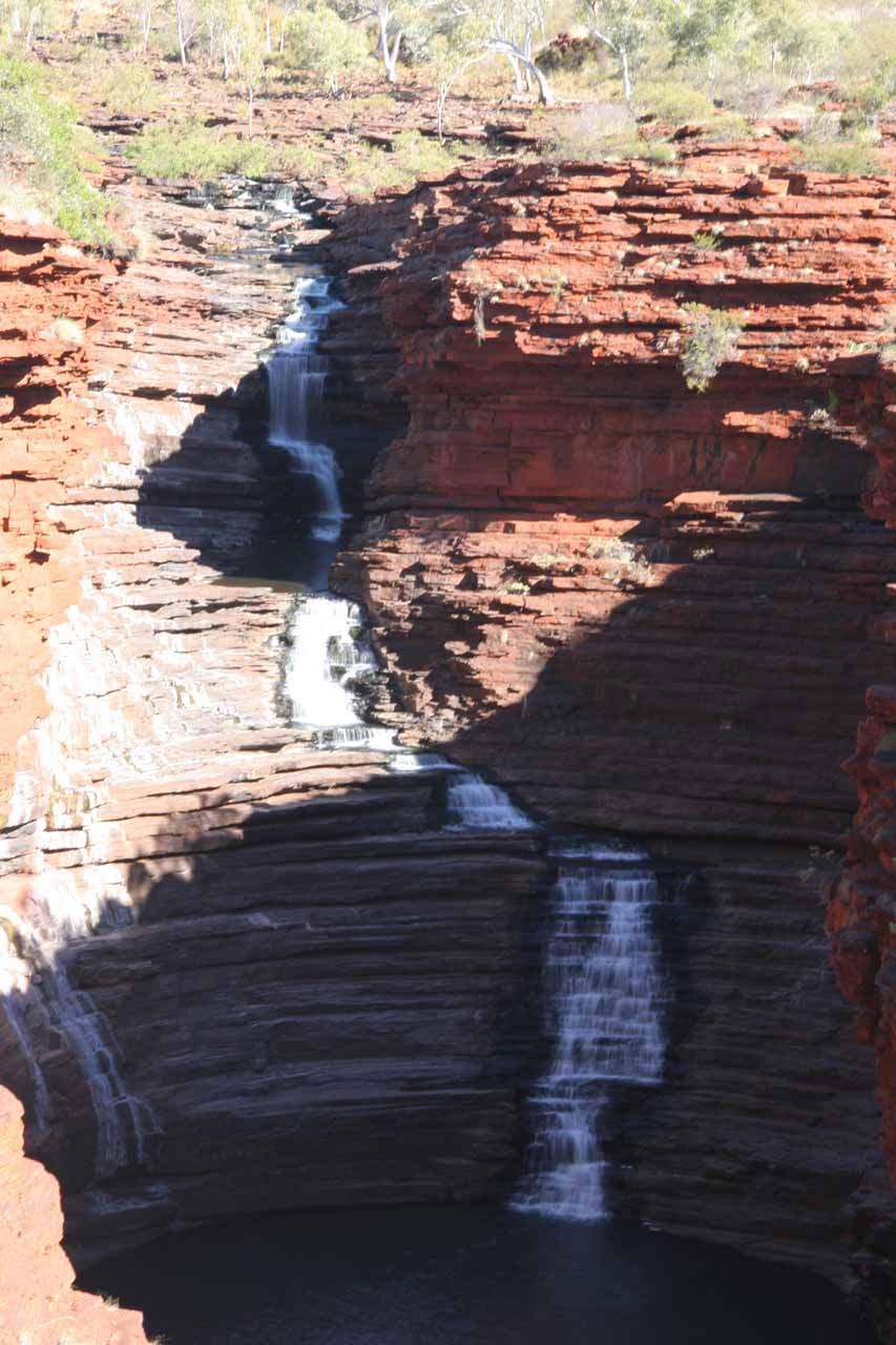 Closeup view of Joffre Falls being split by shadows